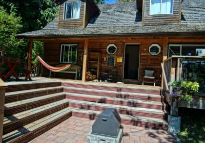 Front steps and fire pit